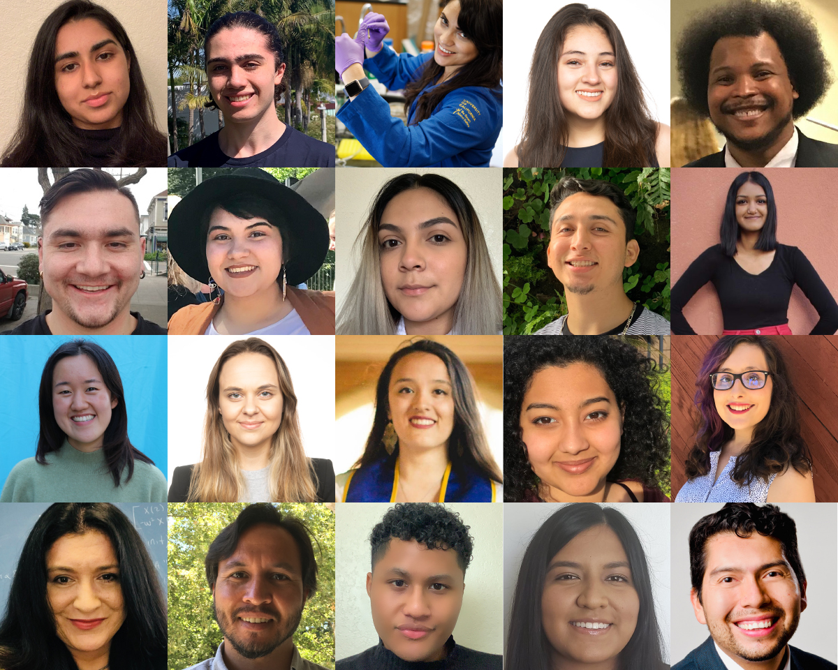 A grid of 20 headshots of university age students, mostly smiling