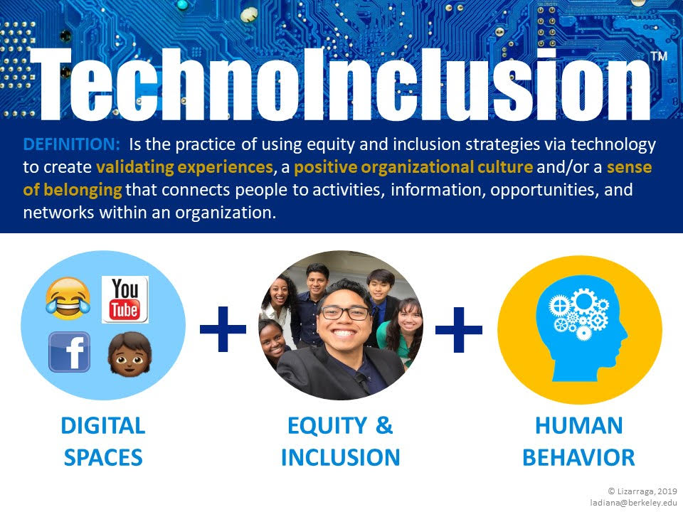 TechnoInclusion is the practice of using equity and inclusion strategies via technology to create validating experiences, a positive organizational culture and/or a sense of belonging that connects people to activities, information, opportunities, and networks within an organization. Digital spaces + Equity and inclusion + Human behavior